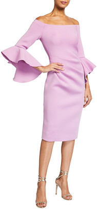 Jovani Marshmallow Off-Shoulder Trumpet Sleeve Scuba Dress