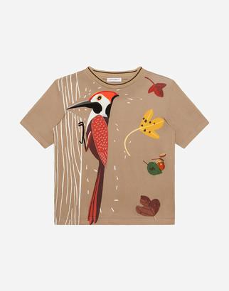 Dolce & Gabbana Jersey T-Shirt With Woodpecker Print