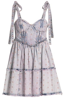 LoveShackFancy Trocadero Wash Denim Dorna Mini A-Line Dress