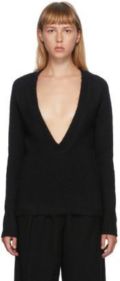 Jil Sander Black Oversized V-Neck Sweater