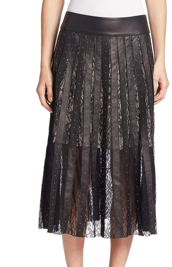 Alice + Olivia Women's Tianna Lace Panel Leather Midi Skirt