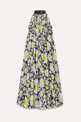 Richard Quinn Satin-trimmed Floral-print Chiffon Gown - Black