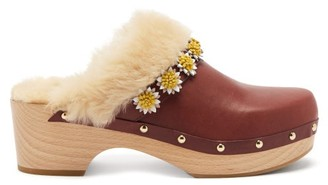 Fabrizio Viti - Jean Floral-applique Leather Clogs - Brown Multi