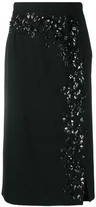 Blumarine Crystal-Embellished Pencil Skirt