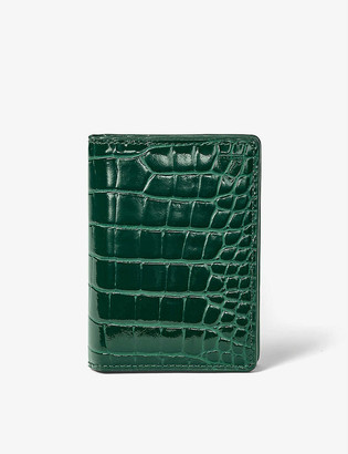 Aspinal of London Double Fold crocodile-embossed leather card holder