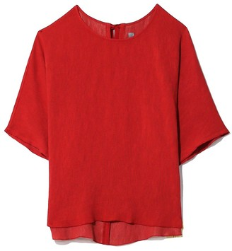 Raquel Allegra Pleated Rayon Oversized T-Shirt in Venetian Red