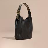 Burberry Stud Detail Textured Leather Shoulder Bag