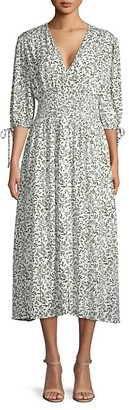 Lucca Rhodes Printed Smocked Midi Dress