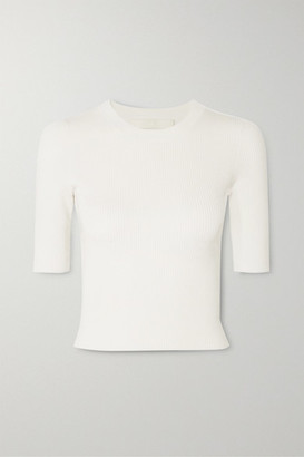 Dion Lee Shadow Cropped Ribbed-knit Top - Ivory