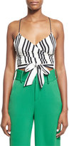 Alice + Olivia Rayna Striped Tie-Front Cropped Tank Top, Black/White