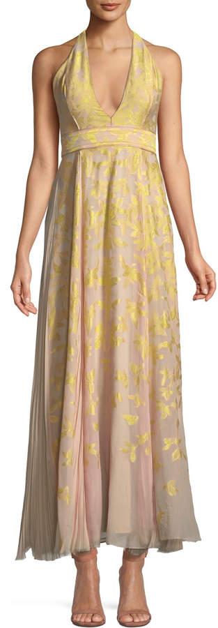 J. Mendel V-Neck Halter Sleeveless Silk Jacquard Gown