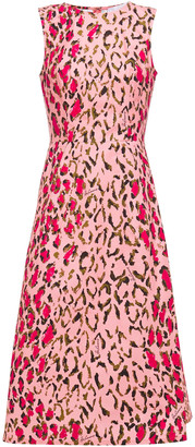 Carolina Herrera + Rose Cumming Flared Leopard-print Stretch-cotton Midi Dress