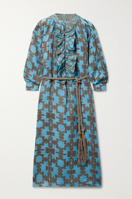 Yvonne S Belted Ruffled Printed Linen Midi Dress - Blue