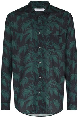 Desmond & Dempsey Palm Tree Print Long-Sleeve Pyjama Shirt
