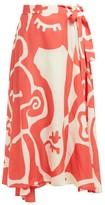 Bower - Jade Abstract-print Midi Wrap-skirt - Womens - Red Print