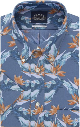 Eagle Men's Short Sleeve Dress Shirt Regular Fit Non Iron Stretch Collar Print