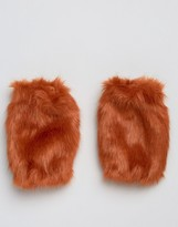 Asos Faux Fur Cuffs in Bright Orange