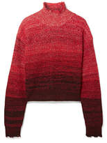Helmut Lang Oversized Mélange Wool-blend Turtleneck Sweater - Red