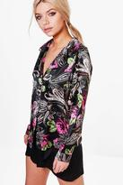 boohoo Sophie Satin Floral Paisely Night Shirt