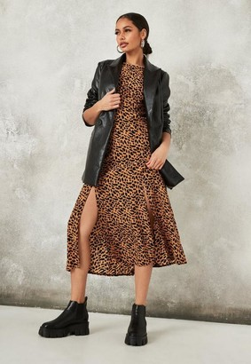 Missguided Stone Leopard Print Flutter Sleeve Midi Dress