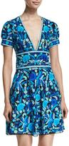 Naeem Khan Short-Sleeve Floral-Print Open-Back Dress, Blue/Green/Multi