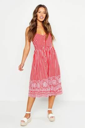 boohoo Petite Stripe Embroidered Hem Midi Dress