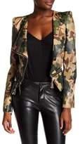 TOV Faux Leather Camo Moto Jacket