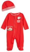 Little Me Santa's Here Footie & Hat Set (Baby Boys)