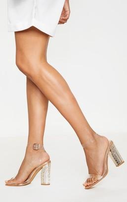 clear Rssedge Rose Gold Strap Ornate Heels