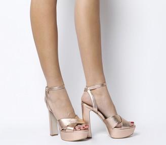 Office Hot Shot Block Platform Heels Rose Gold Leather