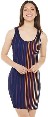 Almost Famous Juniors' Striped Sleeveless Scoop Neck Mini Dress