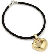 Bulgari 18K Yellow Gold & Black Leather Cord Diamond Large Puffed Heart Pendant Cord Necklace