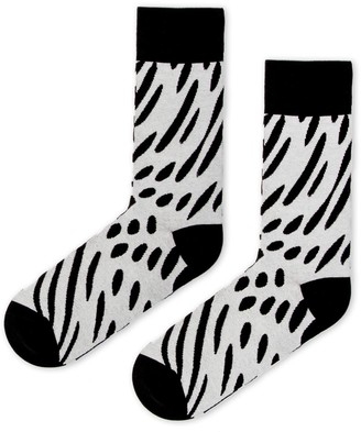 Look Mate London Two Sided Cotton Socks in Black and Off-White Designed by Karan S
