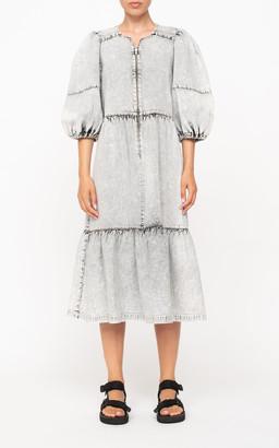 Sea Dax Acid Wash Denim Puff Sleeve Dress