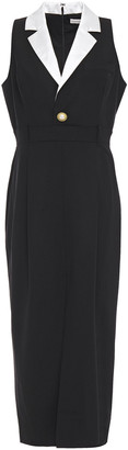 Ronny Kobo Satin-trimmed Pleated Wool-blend Midi Dress