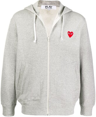 Comme des Garcons Logo Embroidered Zipped Hoodie
