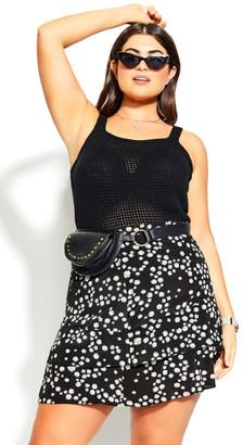City Chic Simply Crochet Top - black