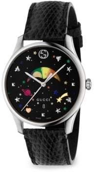 Gucci G-Timeless Rainbow Moonphase Lizard Strap Watch