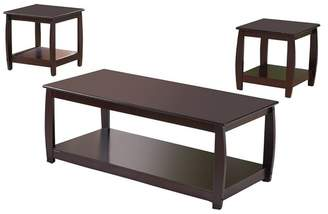 Pilaster Designs Macaire 3-Piece Wood Coffee Table and End Tables Set, Cherry