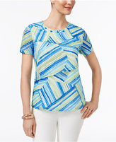 Alfred Dunner Corsica Tiered Patchwork-Print Top