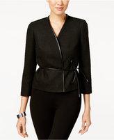 Nine West Tweed Faux-Leather Tie-Waist Jacket