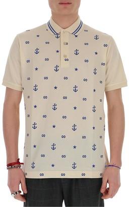 Gucci GG Anchor Embroidered Polo Shirt