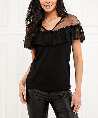 Milan Kiss Women's Blouses BLACK - Black Ruffle Mesh-Panel V-Neck Top - Women
