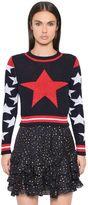 Just Cavalli Star Lurex Cotton Blend Jacquard Sweater