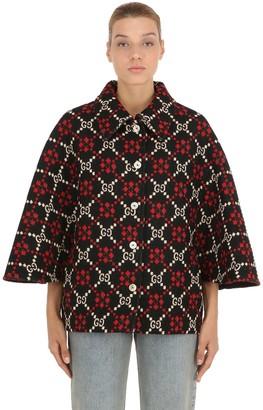 Gucci Gg Supreme Wool Knit Cape