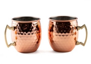 Thirstystone by Cambridge 20 oz Hammered Copper Moscow Mule Mugs - Set of 2