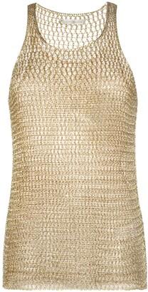 Faith Connexion Metallic Crochet-Knit Top