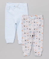 Bon Bebe Blue & Gray Doggy Pants Set - Infant
