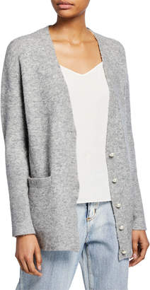 3.1 Phillip Lim Lofty Button-Front Welt-Pocket Cardigan w/ Pearlescent Details