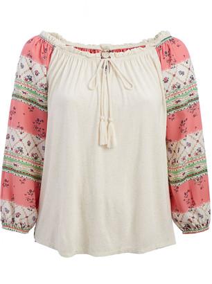 Tru Self Women's Tunics PINK - Cream & Pink Floral Scarf Print Off-Shoulder Peasant Top - Plus